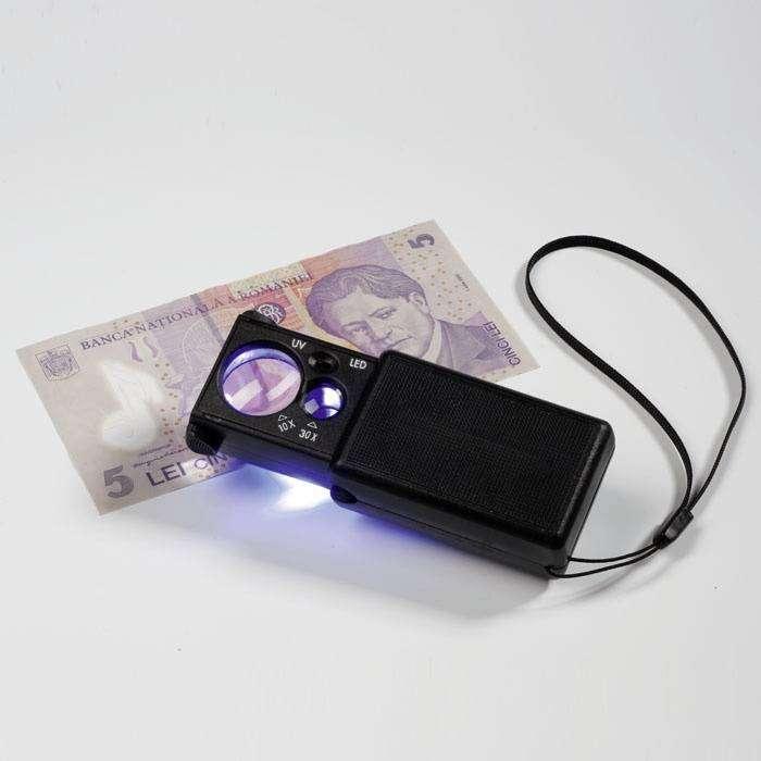 Lupa 10x a 30x s LED diodou a UV lampou Leuchtturm