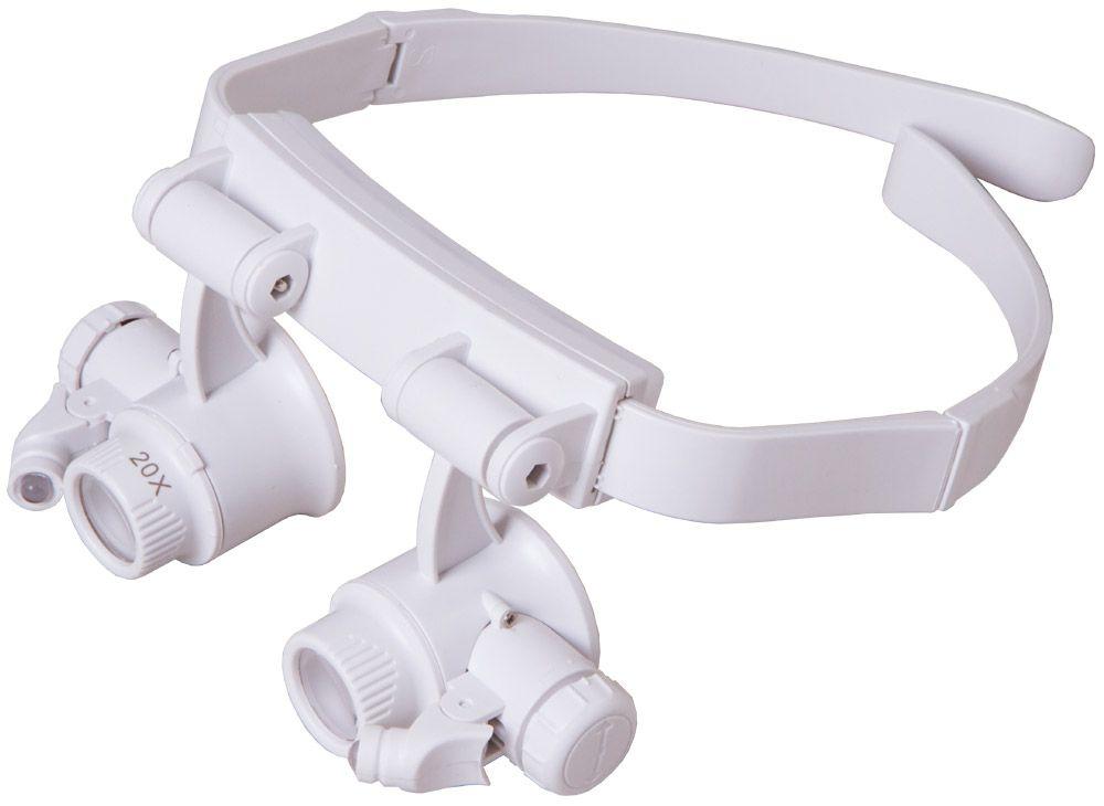 Náhlavní lupa Levenhuk Zeno Vizor G6 s LED svítilnou a pružným páskem, který se přizpůsobí obvodu hlavy. Lupa má vyměnitelné čočky, které zvětšují 10x,15x, 20x, nebo až 25x.   lupy-dalekohledy.cz